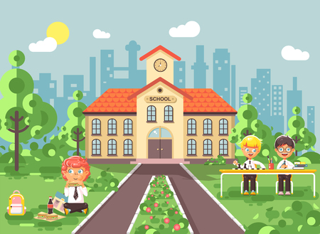 Vector illustration children characters schoolboys pupils apprentices classmates play chess dinner lunch, read book doing homework school building gymnasium for boys background in flat style