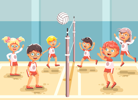 Vector illustration back to sport school children character schoolgirl schoolboy pupil classmates team game playing volleyball ball physical education class gymnasium gym background flat style 版權商用圖片 - 83177770
