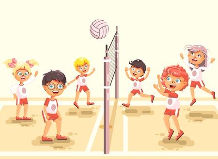 주식 벡터 일러스트 다시 스포츠에 학교, 어린이, 캐릭터, 여학생, 학생, 학교, 놀이, 배구, 공, 체육, 클래스, 모래, 해변, 배경,