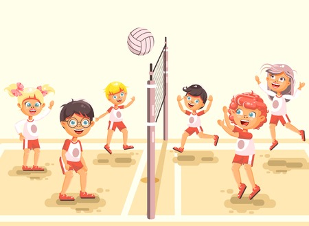 Stock vector illustration back to sport school children character schoolgirl schoolboy pupil classmates team game playing volleyball ball at physical education class sandy beach background flat style. Illustration