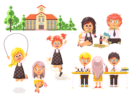 Stock vector illustration isolated children characters schoolboy schoolgirl pupils apprentices classmates play chess dinner lunch, read book jumping rope school building white background in flat style