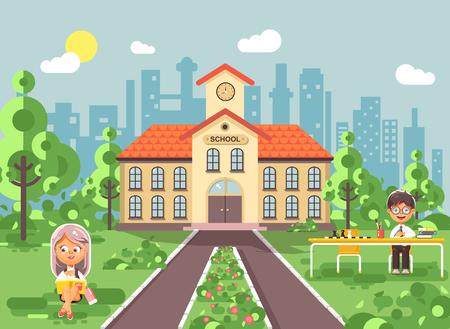 Illustration vectorielle d'illustration retour à l'école personnage collège élève élève assis sur l'herbe, cour d'école extérieur, fille lit le livre, garçon faisant le devoir à la table, gymnase arrière-plan en style plat Vecteurs