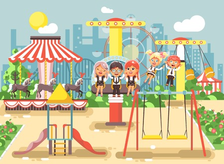chain swing ride: Vector illustration of cartoon characters children schoolboys schoolgirls classmates resting in amusement park ride on swing, chain or horses carousel, roller coaster, extreme rest in flat style