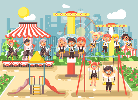 Stock vector illustration of cartoon characters children schoolboys schoolgirls classmates resting in amusement park ride on swing, chain or horses carousel, roller coaster, extreme rest in flat style Illustration