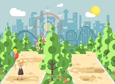 Stock vector illustration walk stroll promenade girl, holds balloons in hands on alley pavement in amusement park outdoor, roller coaster switchback background flat style.