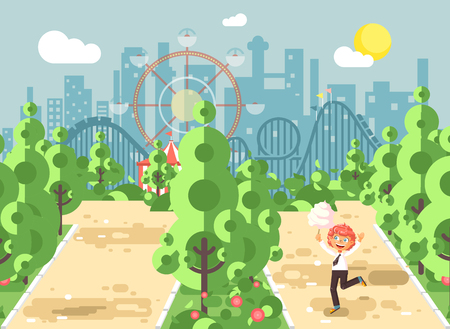 Stock vector illustration walk stroll promenade boy, holds cotton candy in hands on alley pavement in amusement park outdoor, roller coaster switchback background flat style
