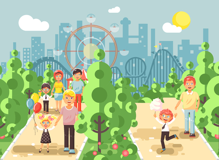 Vector illustration walk stroll promenade of parents with children, balloons, eat ice cream and cotton candy amusement park outdoor, roller coaster switchback background flat style Illusztráció