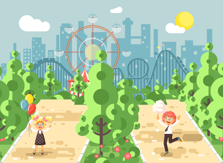 Vector illustration walk stroll promenade boy, girl, school children, classmates child s day, balloons, eat cotton candy amusement park outdoor, roller coaster switchback background flat style
