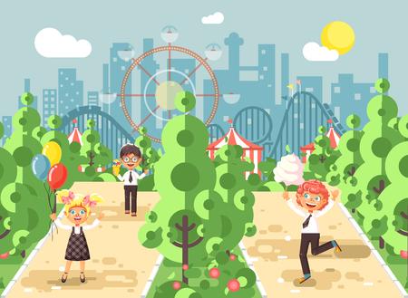 Illustration walk stroll promenade boys girl children child s day, balloons, ice cream, cotton candy alley pavement amusement park outdoor, roller coaster switchback flat style.