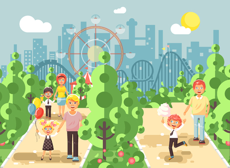 Vector illustration walk stroll promenade of parents with children, child s day, balloons, eat ice cream and cotton candy amusement park outdoor, roller coaster switchback background flat style