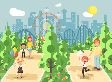 switchback: Vector illustration walk stroll promenade of parents with children, child s day, balloons, eat ice cream and cotton candy amusement park outdoor, roller coaster switchback background flat style