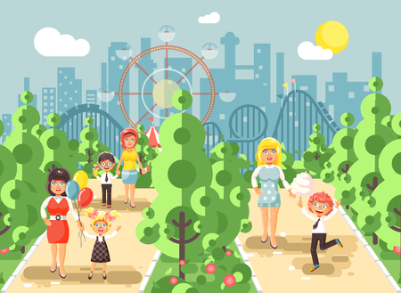 switchback: Vector illustration walk stroll promenade boy and girl with moms, child s or mother s day, cotton candy on alley pavement amusement park outdoor, roller coaster switchback background flat style Stock Photo