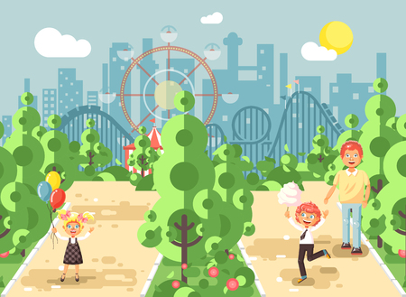 Vector illustration walk stroll promenade father with son, daughter children, child s day, balloons, eat cotton candy amusement park outdoor, roller coaster switchback on background flat style Stock Photo