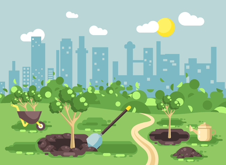 Vector illustration landscape, scenery, view, scene, planting garden seedlings of tree watering from geek, wheelbarrow, shovel, excavated pits in ground, taking care of ecology city flat style Ilustração