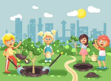 the sprouting: Vector illustration cartoon characters of children boy and girl planting in garden seedlings of tree, little child with water geek, taking care of ecology city in flat style for motion design
