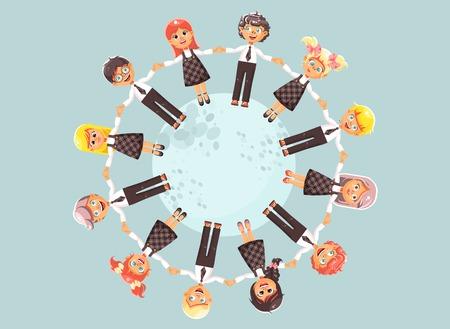 Vector Illustrationszeichentrickfilm-figurkinder, die Hände anhalten und im Kreis stehen, fahren roundelays, führen Tänze in der flachen Art auf blauem Hintergrund Standard-Bild - 83254601