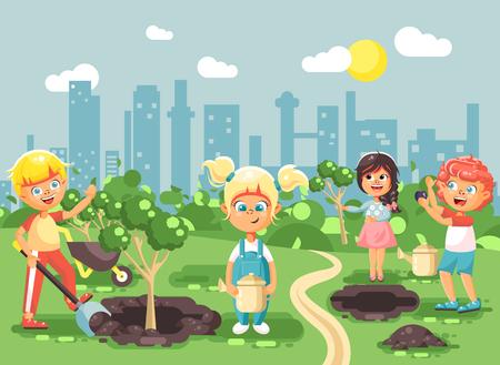 子供男の子と女の子植栽木の庭の苗に水オタク、モーション デザインのフラット スタイルの生態都市の世話と小さな子供のベクトル イラスト漫画のキャラクター