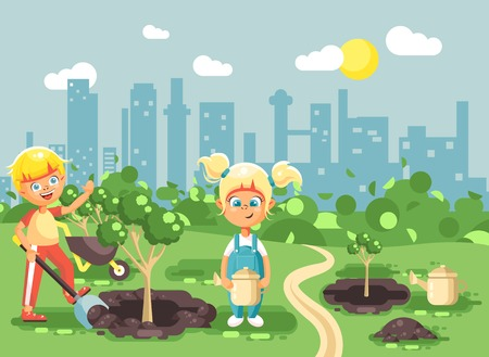 Vector illustration cartoon characters of children boy and girl dig hole in ground for planting in garden seedlings of tree watering water from geek, taking care of ecology city in flat style Ilustração