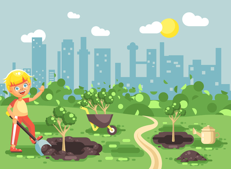 Stock vector illustration cartoon characters of child little lonely blonde boy digs hole in ground for planting in garden seedlings of tree watering from geek, taking care of ecology city flat style