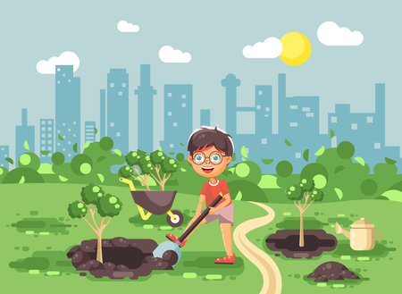 Stock vector illustration cartoon characters of child little lonely brunette boy digs hole in ground for planting in garden seedlings of tree watering from geek, taking care of ecology city flat style
