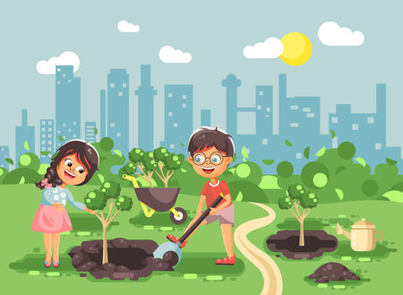 Stock vector illustration cartoon characters of children boy and girl dig hole in ground for planting in garden seedlings of tree watering water from geek, taking care of ecology city in flat style Ilustração