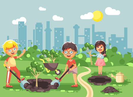 Stock vector illustration cartoon characters of children boy and girl planting in garden seedlings of tree, little child with water geek, taking care of ecology city in flat style for motion design Illustration