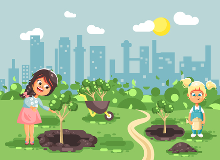Stock vector illustration cartoon characters of children two little girls near dug holes in ground for planting in garden seedlings of tree watering from geek, taking care of ecology city flat style Illustration