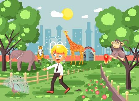 Vector illustration banner for site with schoolchild on walk, school zoo excursion zoological garden, blonde little boy monkey, peacock, elephant, lion, tiger, giraffe, wild animals flat style