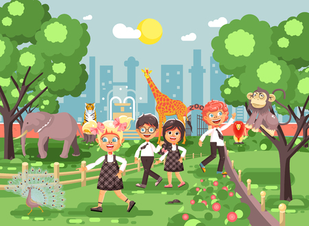 Vector illustration or banner for site with schoolchildren, classmates on walk, school zoo excursion zoological garden, boys and girls watching wild animals and birds flat style, city pattern Ilustração