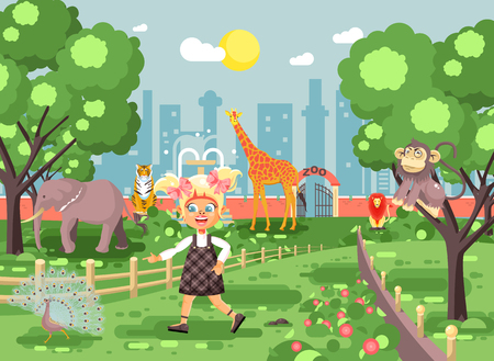 Stock vector illustration banner for site with schoolchild on walk, school zoo excursion zoological garden, blonde little girl monkey, peacock, elephant, lion, tiger, giraffe, wild animals flat style