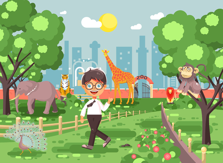 Stock vector illustration banner for site with schoolchild on walk school zoo excursion zoological garden, brunette little boy monkey, peacock, elephant, lion, tiger, giraffe, wild animals flat style Ilustração