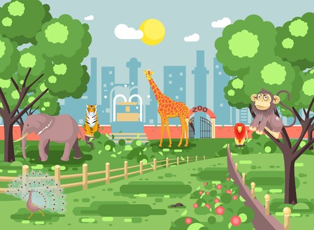 Vector illustration banner landscape, scenery, view, for site with zoo excursion, zoological garden, monkey, peacock, elephant, lion, tiger, giraffe, wild animals flat style city background Ilustração