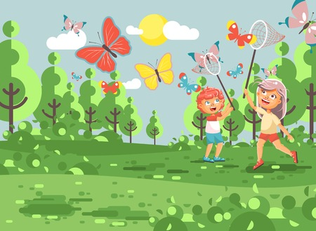 biologist: Vector illustration cartoon character two children, young naturalists, biologist boy and girl catch colorful butterflies with nets, scoop-nets, hoop-nets white background in flat style