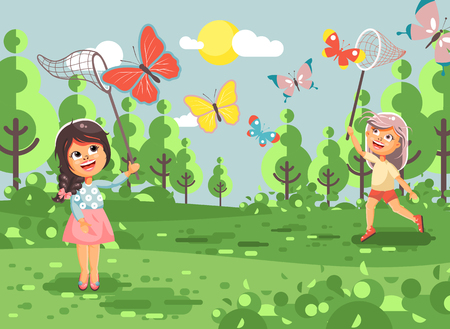 Stock illustration cartoon character lonely children, young naturalist, biologist two girls catch colorful butterflies with net, scoop-net, hoop-net on nature outdoor flat style. Illustration