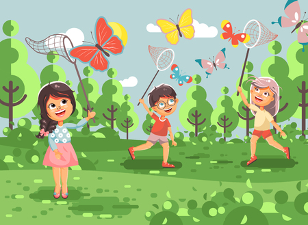 Stock illustration cartoon character children, young naturalists, biologist boys and girls catch colorful butterflies with nets, scoop-nets, hoop-nets on nature outdoor in flat style.
