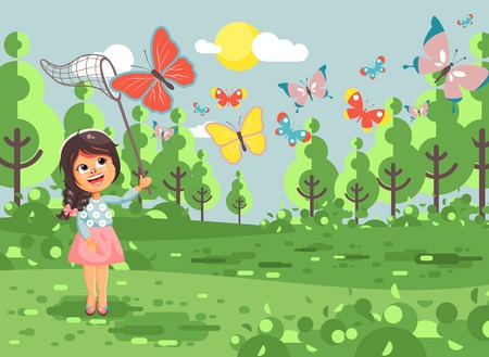 Vector illustration cartoon character lonely child, young naturalist, biologist brunette girl catch colorful butterflies with net, scoop-net, hoop-net on nature outdoor background in flat style Stock Photo