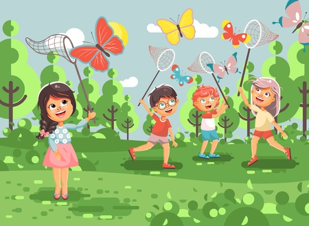 biologist: Vector illustration cartoon character children, young naturalists, biologist boys and girls catch colorful butterflies with nets, scoop-nets, hoop-nets on nature outdoor background in flat style Stock Photo