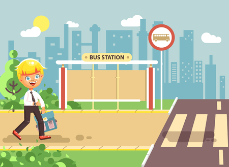 observance: Vector illustration cartoon characters child, observance traffic rules, lonely blonde boy schoolchild, pupil go to road pedestrian crossing, on bus stop background, back to school in flat style