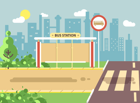 Vector illustration of roadside cartoon landscape with roadway, road, sidewalk and empty bus stop for school in flat style on city background element for motion design, banner, web site Illustration