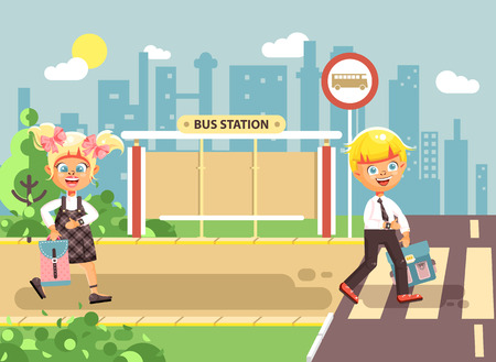 Vector illustration cartoon characters children, observance traffic rules, boy and girl schoolchildren classmates go to road pedestrian crossing, bus stop background back to school in flat style Illustration