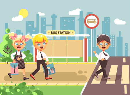 spolužák: Vector illustration cartoon characters children, observance traffic rules, boys and girl schoolchildren classmates go to road pedestrian crossing, bus stop background, back to school flat style