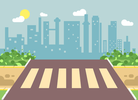 Vector illustration of roadside cartoon landscape with roadway, road, sidewalk and empty pedestrian zone crossing in flat style on city background element for motion design, banner, web site