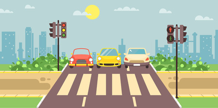 Vector illustration of roadside cartoon landscape with roadway, road, sidewalk and empty pedestrian zone with cars crossing flat style city background element for motion design, banner, web site