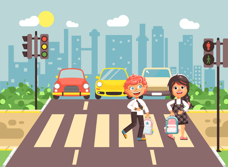 Vector illustration cartoon characters children, observance traffic rules, boy and girl schoolchildren classmates go to road pedestrian zone crossing, city background back to school flat style Illustration