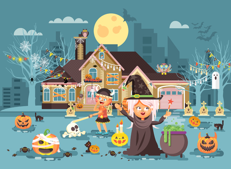 Vector illustration cartoon characters children Trick-or-Treat, boy, girl costumes, fancy dresses celebrate holiday party Happy Halloween, decorated pumpkins, skeletons, volatile mice flat style
