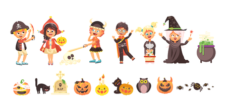 Vector illustration isolated cartoon children Trick-or-Treat boy, girl, costumes fancy dresses holiday party Happy Halloween, pumpkins, bats flat style white background brochure, flyer, leaflet Illustration