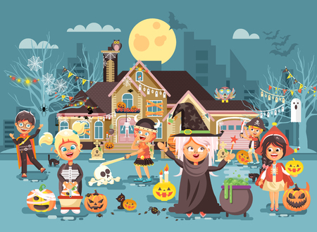 night dress: Vector illustration cartoon characters children Trick-or-Treat, boy, girl costumes, fancy dresses celebrate holiday party Happy Halloween, decorated pumpkins, skeletons, volatile mice flat style