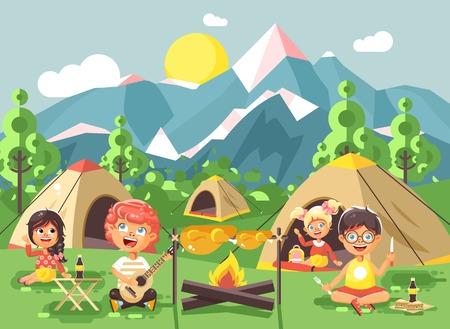 Vector illustratie stripfiguren kinderen jongen zingt gitaar spelen met meisje scouts, kamperen op de natuur, wandelen tenten en rugzakken, avonturenpark buiten achtergrond van bergen vlakke stijl