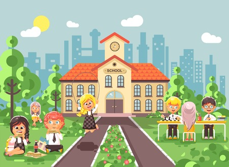 Vector illustration children characters schoolboy schoolgirl pupils apprentices classmates at schoolyard play chess dinner lunch, read book jumping rope on backdrop of school building flat style Illustration