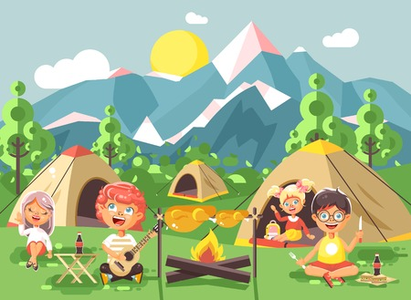 Stock vector illustration cartoon characters children boy sings playing guitar with girl scouts, camping on nature, hike tents and backpacks, adventure park outdoor background of mountains flat style Stock Photo